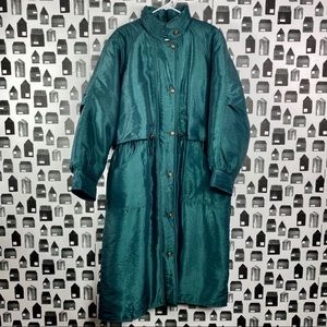Eddie Bauer | Long Teal Button Quilted Puffer Coat